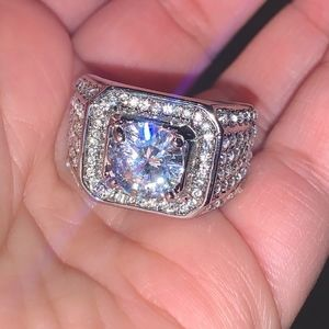 18K White Gold Plated Cubic Zirconia Ring Bling!